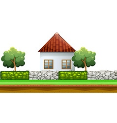 House behind the fence vector