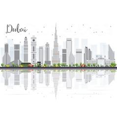 Dubai city skyline with gray skyscrapers vector