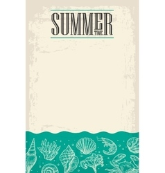 Concept of summer poster with sea shell coral vector image
