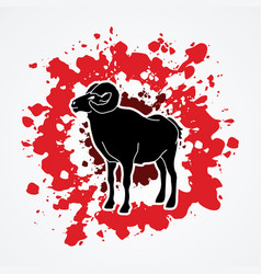 Black sheep big horn ovis standing vector