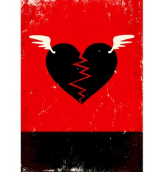 Broken heart with wings vector