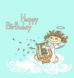 Card for birthday with cupid playing the lyre vector