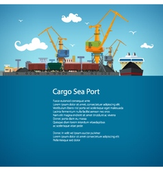 Cargo seaport and text vector