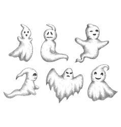 Cartoon halloween funny ghots icons vector