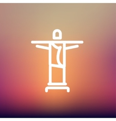 Christ the redeemer thin line icon vector