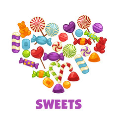 delicious sweets and lollipops in heart shape vector image