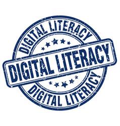 Digital literacy blue grunge stamp vector
