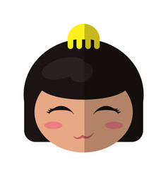 Face beauty kokeshi doll vector