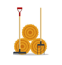 Flat dried haystack with hayfork and rake isolated vector