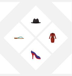 Flat garment set of heeled shoe panama clothes vector