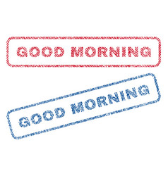 Good morning textile stamps vector