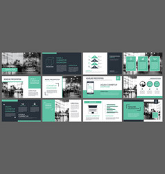 Green presentation templates and infographics vector
