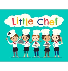 group of young chef children kids cartoon vector image