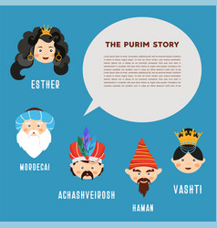 happy purim the story of purim with traditional vector image vector image