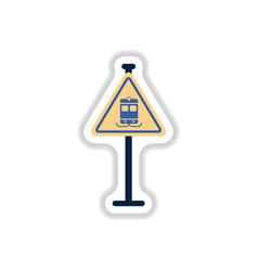 In paper sticker style tram vector