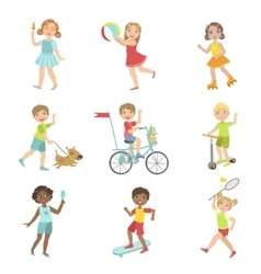 Kids Outdoor Activities Set vector image