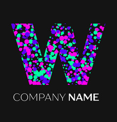 Letter w logo with pink purple green particles vector