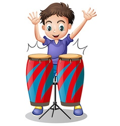 Little boy playing with drums vector