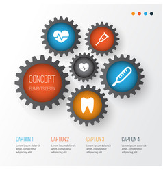 medicine icons set collection of ache beating vector image vector image
