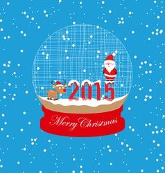 new year and christmas santa claus and deer globe vector image