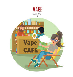 People in vape cafe template vector