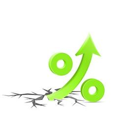 Percent up sign vector