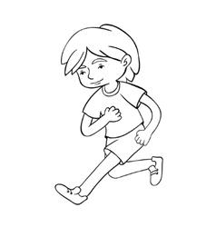 Run boy contour vector image vector image