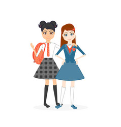 schoolgirl character cartoon flat vector image