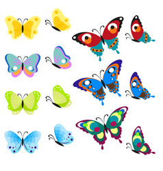 set of multi-colored butterflies insects are a vector image vector image