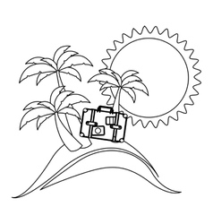 silhouette background summer with briefcase vector image vector image