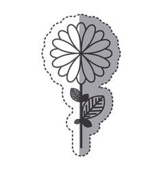 Silhouette flower with petals and leaf icon vector