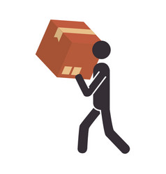 Silhouette pictogram person carrying a box vector
