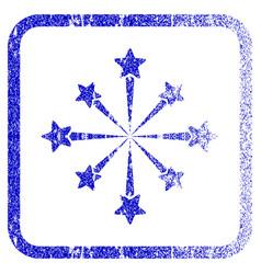 Star burst fireworks framed textured icon vector
