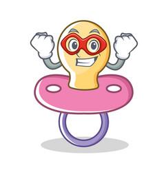 Super hero baby pacifier character cartoon vector