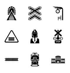 Train icons set simple style vector