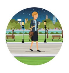 Woman business walk park view night vector