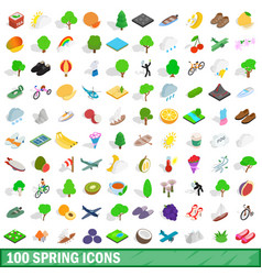 100 spring icons set isometric 3d style vector