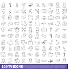 100 tv icons set outline style vector