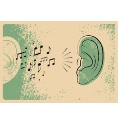 Ears with music notes music poster vector