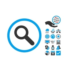 Search flat icon with bonus vector