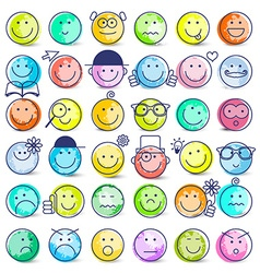 Colorful faces set icons isolated on white vector