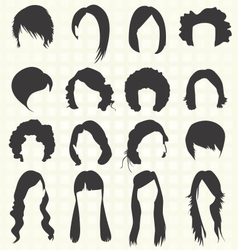 Womans hair styles silhouettes vector