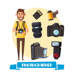 Photographer with digital camera cartoon icon vector