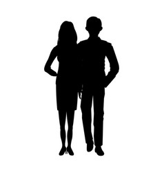 Silhouette of a couple in a field grass image vector