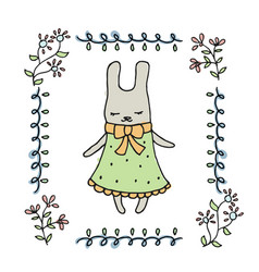 Cute little cartoon hare vector