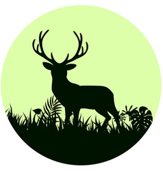 Forest background with wild deer of trees on conce vector