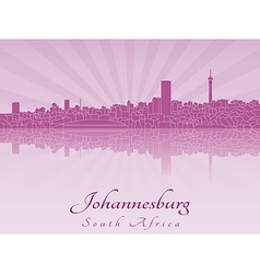 Johannesburg skyline in purple radiant orchid vector image