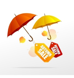 Autumn sale labels with umbrellas vector