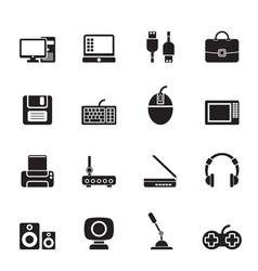 Silhouette computer equipment and periphery icons vector
