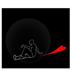 A man sitting down with lovely red hearts vector